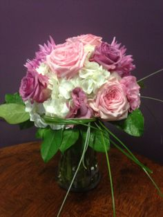 purple and pink roses white hydrangea