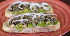 Sardine Sandwich - A healthy and quick open faced sandwich made with mashed avocado and sardines. Then it's broiled and topped with a few simple toppings.