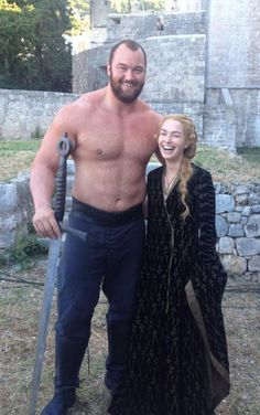 The mountain rides... Hafthor Julius Bjornsson (who plays Gregor Clegane) with Lena Headey during the filming of Game of Thrones Season 4
