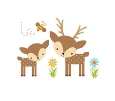 WOODLAND DEER DECAL Forest Animal Baby Nursery Wall Mural Stickers Girl Boy Room Childrens Animal Friends Bedroom Kids Bee Art Decor