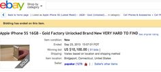 Gold Apple iPhone 5S Sells For $1,200-$10,000 On eBay! ► http://VaultFeed.com/gold-apple-iphone-5s-sells-for-1200-10000-on-ebay/