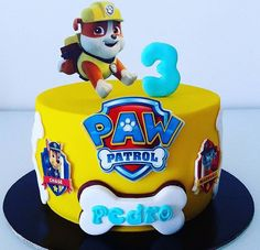 Super Cupcakes Cakes For Boys Paw Patrol 16 Ideas Rubble Paw Patrol Cake, Bolo Do Paw Patrol, Torta Paw Patrol, Paw Patrol Cupcakes, Paw Patrol Birthday Cake, Birthday Cake For Him, Cupcake Birthday Cake, Cupcake Cakes, 3rd Birthday