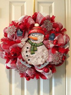 Snowman Wreath by ChelsiesCreations on Etsy, $40.00