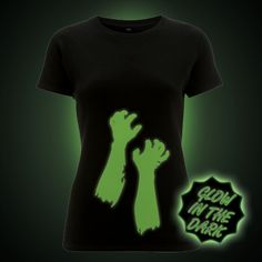 Zombie reaching arms glow in the dark Halloween T-Shirt The Darkest, Glow, T Shirts For Women, Trending Outfits, Halloween, Prints, Arms, Clothes, Vintage