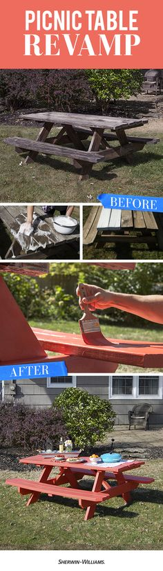 See how a couple coats of paint transform this plain picnic table.