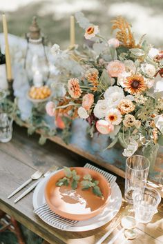 Fall barn vibes with terracotta and peach and gorgeous late summer wild flowers - 100 Layer Cake Fall Wedding Flowers, Spring Wedding, Floral Wedding, Wedding Colors, Wedding Bouquets, Wild Flower Wedding, Autumn Wedding, Rustic Wedding, Wedding Table Centerpieces