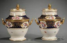 Regency Enamel Decorated and Parcel-gilt Porcelain Fruit Coolers, England, c. 1815-20.
