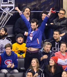 Jay Baruchel the Montreal Canadiens vs. Los Angeles Kings at Staples Center on in Los Angeles. (Oh, happy trails. Check out those boxers! Jonathan Adams, Jay Baruchel, Staples Center, Los Angeles Kings, Happy Trails, Montreal Canadiens, Boxers, Check, Boxer
