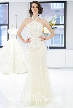 Brides.com: Spring 2017 Wedding Dress Trends Bubble hem ball gown with acrylic embroidered illusion back, Angel SanchezPhoto: Luca Tombolini / Indigitalimages.com