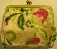 Vtg Fabric Clutch, Leather Trim, Brass Snaps. #ChangePurse stores.ebay.com/main-street-closeout