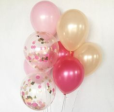 Pink Hot Pink Peach Latex Balloons Flamingo Party Confetti
