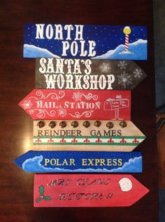 Santa's Village Directional Signs Yard Art by ScrapwoodSigns Christmas Pallet Signs, Diy Christmas Village, Office Christmas Decorations, Christmas Villages, Christmas Wood, Christmas Projects, Christmas Displays, Outdoor Decorations, Christmas Time