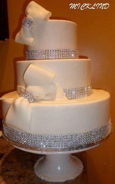 wedding cakes with bling   BOWS & RHINESTONE WEDDING CAKE - by micklind @ CakesDecor.com - cake ...