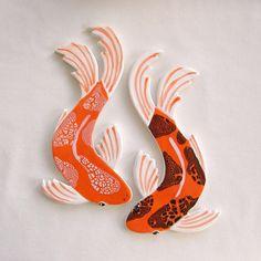 Koi Mosaic tiles ceramic fish RESERVED hand by ArtTileMosaics