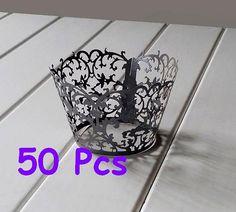 Stencil classic flower cupcake holder black lace by BigDayKingdom