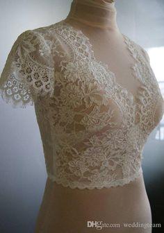Wedding bolero-top-jacket with lacealencon sleeves . by TIFFARY Wedding Cardigan, Wedding Shrug, Bridal Bolero, Lace Bolero, Bridal Lace, Wedding Shawls, Lace Wedding, Bolero Top, Bolero Jacket