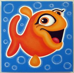 hAPPy+oRANGE+FiSH++10x10+original+painting+on+by+art4barewalls,+$40.00