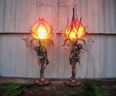Silk Flower and Faerie Lights — Little Wing Faerie Art Butterfly Lamp, Flower Lamp, Giant Paper Flowers, Silk Flowers, Earthy Home, Plastic Bottle Crafts, Bohemian Bedroom Decor, Rainbow Roses, Fairy Lamp