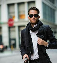 Ray bans, plaid blazer, drop scarf