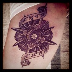 Coordinates tattoo by Stever Cvinar Murphy. #tattoo #idea #ideas #design #compass