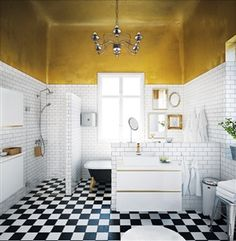 Golden details! Paint your bathroom ceiling and make it more exclusive! Cheap, easy and simple.