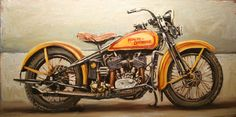 1932 Harley Flathead - oil on canvas - 30 x 60 inches - available #vintage…