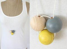 Holzketten - Halskette Holz lemon & beton - ein Designerstück von Springinkerl bei DaWanda