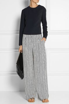 Maiyet's wide-leg pants have been expertly crafted in the USA from midnight-blue and white silk. In keeping with the brand's artisanal ethos, the stripes have been created by hand using a block printing method.  |  I love the ease of these pants and the artsy stripes - I would definitely wear this whole outfit.