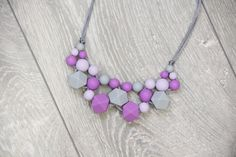 Chunky Silicone Teething Necklace for mother purple от TeetherLand