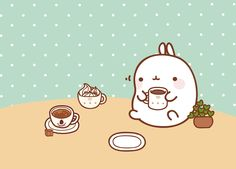 Molang's coffee break wallpaper. (click thru for high res)