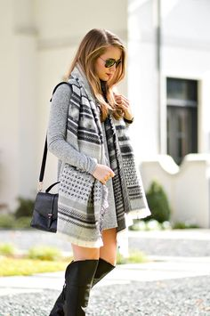 Winter Outfit Idea - grey blanket scarf, southern girl style, texas blogger, tory burch 797 satchel, black raybans | Winter Fashion | Winter Style | Styling for Winter | Fashion for Winter | Style Tips for Winter || A Lonestar State of Southern