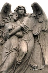 Angel Photograph - Angel Photography Guardian Angels Loving Embrace by Kathy Fornal