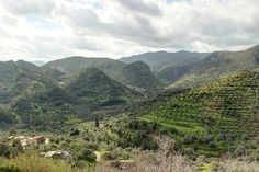 Admiring beautiful sceneries from a terrace in Polyrrinia village, Chania Crete. Katohori hamlet can also be seen.