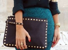 Gold studded clutch with wristlet