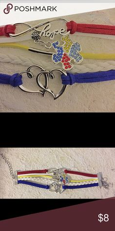 Autism Hope Heart Love bracelet puzzle awareness Autism awareness month is April. Brand new bracelet. A portion of this sale will benefit Autism camp in my state. Thank you for your support! Bundle and save Jewelry Bracelets
