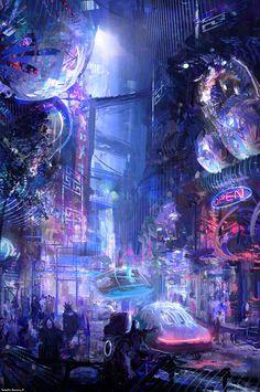 cyberpunk city illustration cyberpunk city street landscape art graphic fantasy inspiration ideas, concepta rt environment design digital art illustration by Wadim Kashin 2015 on Digital Art Served Ville Cyberpunk, Art Cyberpunk, Cyberpunk Aesthetic, Cyberpunk Anime, Neon Aesthetic, Cyberpunk Fashion, Fantasy World, Fantasy Art, Sci Fi City
