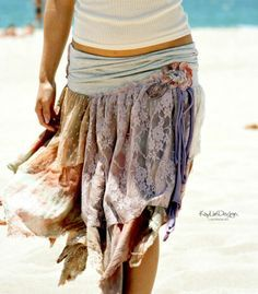 tattered skirt   DIY Gypsy-Chic tattered skirt- the waist band is ...
