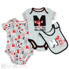 Mickey Mouse Boys Bodysuits and Bib. #Disney #BabyBoy #Onesies