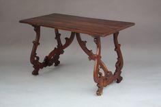 "Early 1800 Trestle Table Rare lyre leg 19th century table. Walnut. Trestle Table, Measures:47.""W x 24.3/4""D x 28.""H."