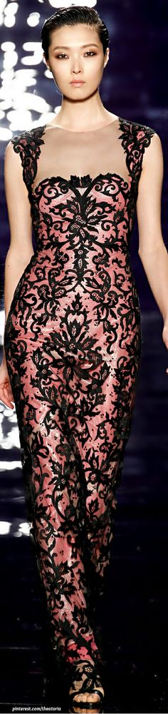 Reem Acra ● Fall 2014 black and pink lace gown amazing