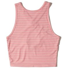 Hollister Ribbed High-Neck Crop Top (865 RUB) via Polyvore featuring tops, sweaters, pink stripe, crop top, ribbed crop top, striped sweater, pink cropped sweater и red sweater