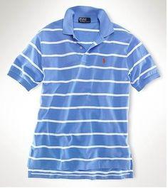Ralph Lauren Men\u0026#39;s Custom-Fit Striped Short Sleeve Polo Shirt Regent Blue / White http