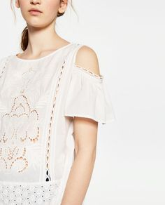 Image 6 of TOP WITH DETAIL ON SLEEVE from Zara
