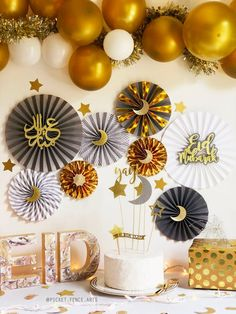 Or et gris Eid decor décorations de lAïd Eid papier fans | Etsy