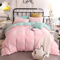 Pink Duvet Cover Sets Queen and King Size Beautiful White Stars Printed Washed Polyester Sheet Design for Children and Adults