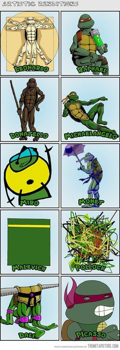 Funny pictures about Ninja Turtles' artistic renditions. Oh, and cool pics about Ninja Turtles' artistic renditions. Also, Ninja Turtles' artistic renditions. Ninja Turtles Art, Teenage Mutant Ninja Turtles, Teenage Turtles, Teenage Ninja, Art History Lessons, Art Lessons, History Class, Monet, Paul Gauguin