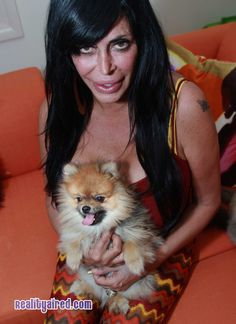 Mob Wives star Big Ang inside her home with Little Louie Big Ang Mob Wives, Pomeranians, Reality Tv, Big And Beautiful, Star, Mom, History, People, Movies