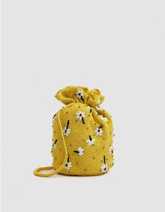 Ganni Hand-Beaded Bag in Minion Yellow Potli Bags, Stylish Handbags, Embroidered Bag, Oui Oui, Beaded Bags, Cute Bags, Mellow Yellow, Diy Clothes, Fashion Bags