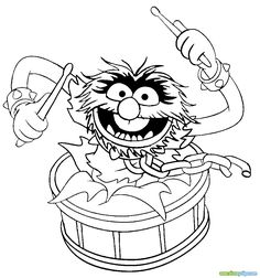The Muppets Animal Song Coloring Pages - Coloring For Kids 2019 Boy Coloring, Coloring Pages For Boys, Animal Coloring Pages, Coloring Pages To Print, Coloring Book Pages, Printable Coloring Pages, Coloring Sheets, Animal Muppet, Drum Drawing