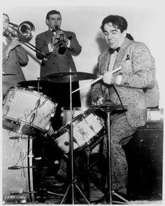 Drummer man Gene Krupa. Dig the angle on that snare drum!